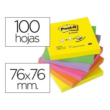 BLOC DE NOTAS ADHESIVAS QUITA Y PON POST-IT 76X76 MM Z-NOTESULTRA INTENSO PACK DE 6 BLOCS SURTIDO