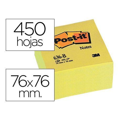 BLOC DE NOTAS ADHESIVAS QUITA Y PON POST-IT 76X76X45 MM CUBO COLORES AMARILLO 450 HOJAS