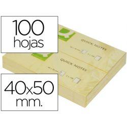BLOC DE NOTAS ADHESIVAS QUITA Y PON Q-CONNECT 40X50 MM CON 100 HOJAS