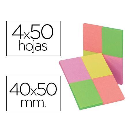 BLOC DE NOTAS ADHESIVAS QUITA Y PON Q-CONNECT 40X50 MM CON 50 HOJAS FLUORESCENTES PACK DE 4 UNIDADES