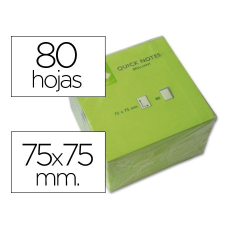 BLOC DE NOTAS ADHESIVAS QUITA Y PON Q-CONNECT 75X75 MM VERDE NEON 80 HOJAS