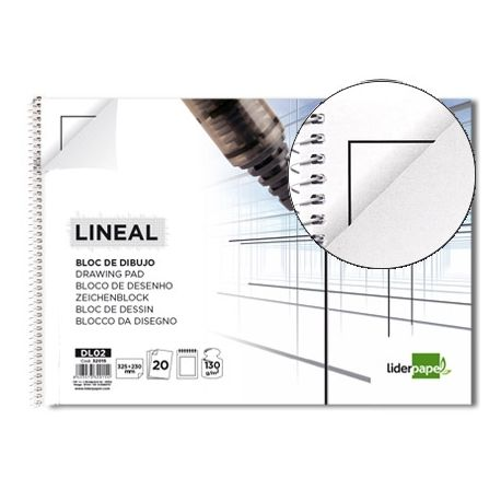 BLOC DIBUJO LIDERPAPEL LINEAL ESPIRAL 230X325MM 20 HOJAS 130G/M2 CON RECUADRO