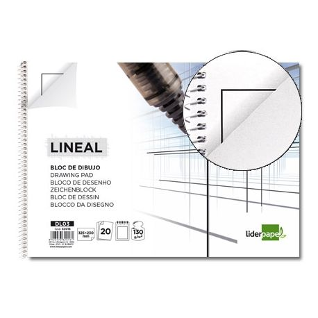 BLOC DIBUJO LIDERPAPEL LINEAL ESPIRAL 230X325MM 20 HOJAS 130G/M2 CON RECUADRO 2 TALADROS