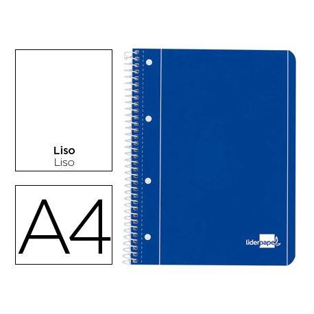 BLOC ESPIRAL LIDERPAPEL A4 MICRO SERIE AZUL TAPA CARTONCILLO 80H 70G LISO CON MARGEN 4 TALADROS. AZU