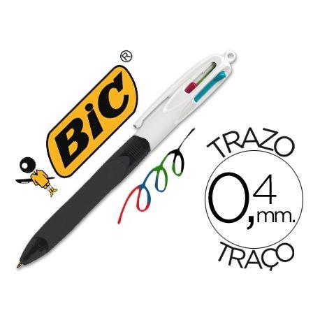 BOLIGRAFO BIC CUATRO COLORES CON GRIP COLORE NEGRO PUNTA 1,3 MM