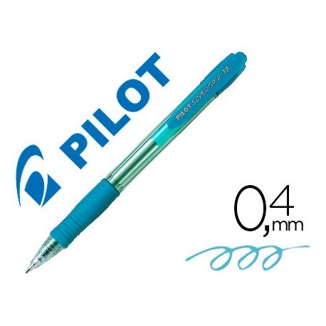 BOLIGRAFO PILOT SUPER GRIP CELESTE -RETRACTIL -SUJECION DE CAUCHO -TINTA BASE DE ACEITE