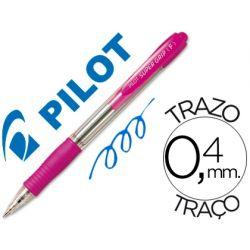 BOLIGRAFO PILOT SUPER GRIP ROSA -RETRACTIL -SUJECION DE CAUCHO -TINTA BASE DE ACEITE