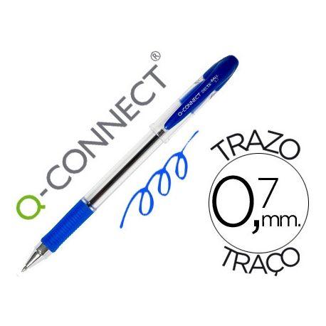 BOLIGRAFO Q-CONNECT DELTA AZUL -SUJECION DE CAUCHO -CON CAPUCHON