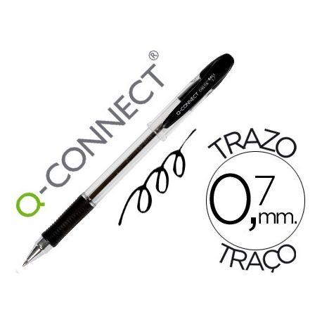BOLIGRAFO Q-CONNECT DELTA NEGRO -SUJECION DE CAUCHO -CON CAPUCHON