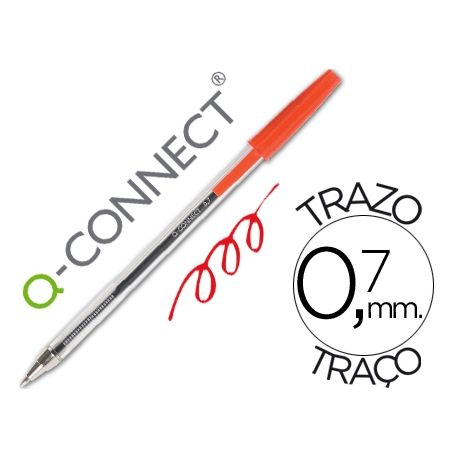 BOLIGRAFO TRANSPARENTE Q-CONNECT ROJO MEDIO KF26041