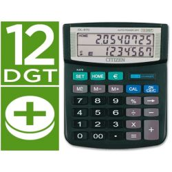 CALCULADORA CITIZEN DL-870 SOBREMESA -EURO DOBLE PANTALLA-12 DIGITOS NEGRA