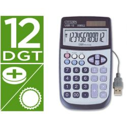 CALCULADORA CITIZEN USB12 -SOBREMESA -12 DIGITOS -CON CABLE USB PARA CONEXION A PC