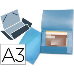 CARPETA LIDERPAPEL PORTADOCUMENTOS 44802 SOLAPAS POLIPROPILENO DIN A3 AZUL -SERIE FROSTY -LOMO FLEXI