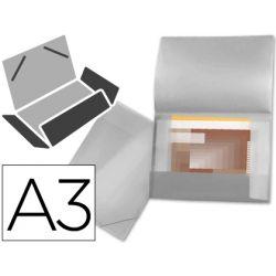 CARPETA LIDERPAPEL PORTADOCUMENTOS 44804 SOLAPAS POLIPROPILENO DIN A3 INCOLORA -SERIE FROSTY -LOMO F