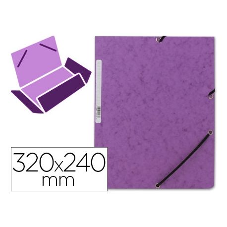 CARPETA Q-CONNECT GOMAS KF02171 CARTON SIMIL-PRESPAN SOLAPAS 320X243 MM VIOLETA