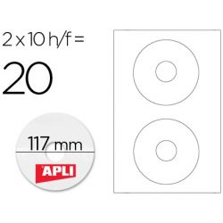 ETIQUETA ADHESIVA APLI 10603 TAMA?O CD-ROM 117 MM PARA FOTOCOPIADORA LASER INK-JET CAJA CON 10 HOJAS