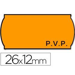 ETIQUETAS METO ONDULADAS 26 X 12 MM PVP FN. ADH 2 -FLUOR NARANJA -ROLLO 1500 ETIQUETAS