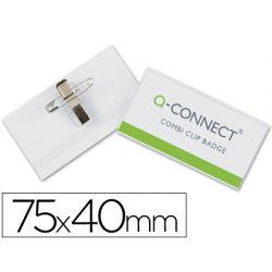 IDENTIFICADOR Q-CONNECT CON PINZA E IMPERDIBLE KF01568 40X75 MM.
