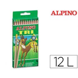 LAPICES DE COLORES ALPINO TRI ESTUCHE DE 12 COLORES SURTIDOS