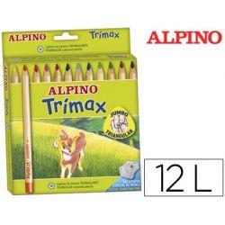 LAPICES DE COLORES ALPINO TRIMAX CAJA DE 12 COLORES