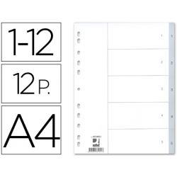 SEPARADOR NUMERICO Q-CONNECT PLASTICO 1-12 JUEGO DE 12 SEPARADORES DIN A4 -MULTITALADRO