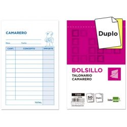 TALONARIO LIDERPAPEL CAMARERO BOLSILLO ORIGINAL Y COPIA T250