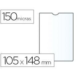 FUNDA PORTACARNET Q-CONNECT DIN A6 150 MICRAS PVC TRANSPARENTE CON U?ERO 105X148 MM