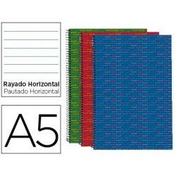 BLOC ESPIRAL LIDERPAPEL MICROPERFORADO DIN A5 140 H HORIZONTAL 5 COL. 6 TAL 70 GR TAPA FORRADA MULTI
