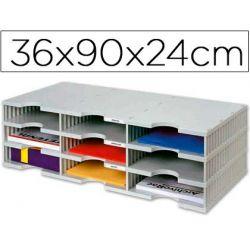 ARCHIVADOR MODULAR ARCHIVODOC TRIO ESTANDAR CON 9 CASILLAS 360X900X240MM