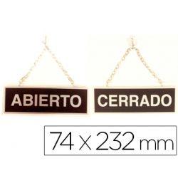 LETRERO METALICO SERIGRAFIADO ABIERTO Y CERRADO CON CADENA Y VENTOSA PARA COLGAR DE 74X232 MM
