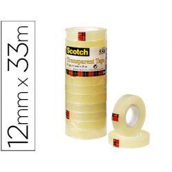 CINTA ADHESIVA SCOTCH TRANSPARENTE 12MMX33 MT