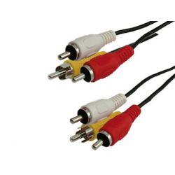 CABLE RCA DE AUDIO Y VIDEO MEDIARANGE LONGITUD 3 MT COLOR NEGRO 3 CONECTORES CABLE EN COLOR NEGRO