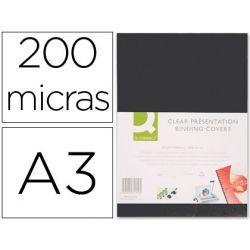 TAPA DE ENCUADERNACION Q-CONNECT PVC DIN A3 OPACA NEGRA 200 MC