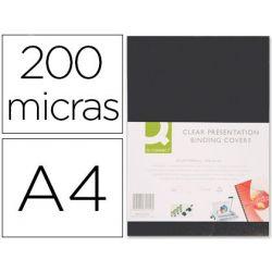TAPA DE ENCUADERNACION Q-CONNECT PVC DIN A4 OPACA NEGRA 200 MICRAS