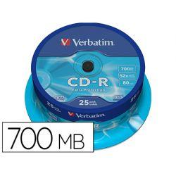 CD-R VERBATIM CAPACIDAD 700MB VELOCIDAD 52X 80 MIN
