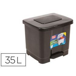 PAPELERA CONTENEDOR PLASTICFORTE PLASTICO CON PEDAL 2 COMPARTIMENTOS 35 LITROS GRIS OSCURO