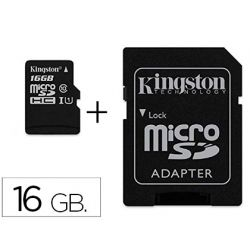 MEMORIA SD MICRO KINGSTON 16 GB CANVAS SELECT CLASE 10 CON ADAPTADOR
