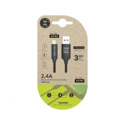 CABLE USB 2.4 TECH ONE TECH BRAIDED NYLON TIPO USB ANDROID MICRO USB LONGITUD 1 MT COLOR NEGRO