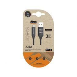 CABLE USB 2.4 TECH ONE TECH BRAIDED NYLON TIPO USB-C MULTI MICRO USB LONGITUD 1 MT COLOR NEGRO
