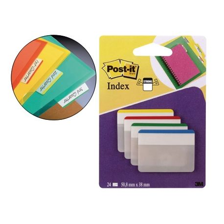 BANDERITAS SEPARADORAS RIGIDASDISPENSADOR 4 COLORES POST-IT INDEX 686-F-1 GRANDES 24 BANDERITAS