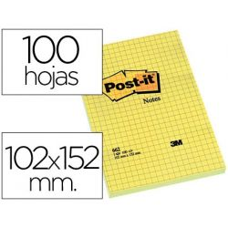 BLOC DE NOTAS ADHESIVAS QUITA Y PON POST-IT 102X152 MM CUADRICULADO -662-