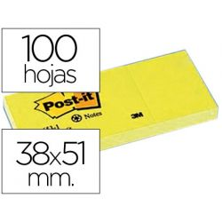 BLOC DE NOTAS ADHESIVAS QUITA Y PON POST-IT 38X51 MM PAPEL RECICLADO AMARILLO PACK DE 3 BLOCS 653-1