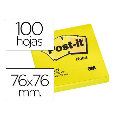 BLOC DE NOTAS ADHESIVAS QUITA Y PON POST-IT 76X76 MM AMARILLO NEON CON 100 HOJAS