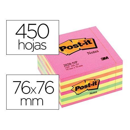 BLOC DE NOTAS ADHESIVAS QUITA Y PON POST-IT 76X76 MM CUBO COLOR ROSA NEON 450 HOJAS