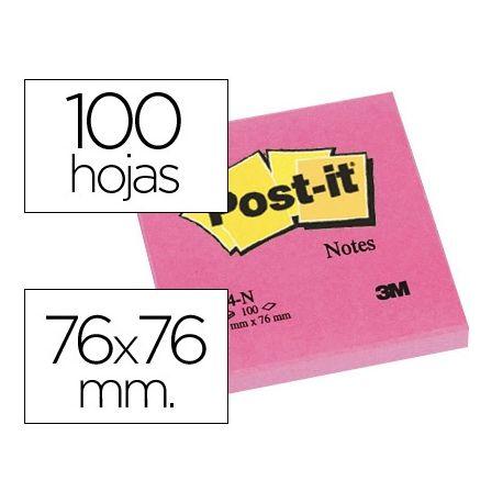 BLOC DE NOTAS ADHESIVAS QUITA Y PON POST-IT 76X76 MM FUCSIA NEON CON 100 HOJAS
