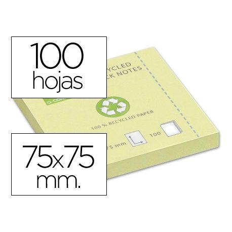 BLOC DE NOTAS ADHESIVAS QUITA Y PON Q-CONNECT 75X75 MM PAPEL RECICLADO AMARILLO