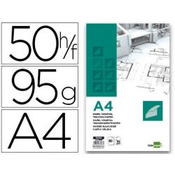 BLOC PAPEL VEGETAL LIDERPAPEL ENCOLADO 210X297MM 50 HOJAS 95G/M2