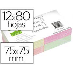 BLOC NOTAS ADHESIVAS QUITA Y Y PON Q-CONNECT 75X75 MM CON 80 HOJAS FLUORESCENTES