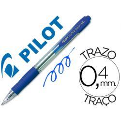 BOLIGRAFO PILOT SUPER GRIP AZUL RETRACTIL SUJECION DE CAUCHO TINTA BASE DE ACEITE