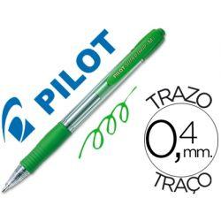 BOLIGRAFO PILOT SUPER GRIP VERDE RETRACTIL SUJECION DE CAUCHO TINTA BASE DE ACEITE